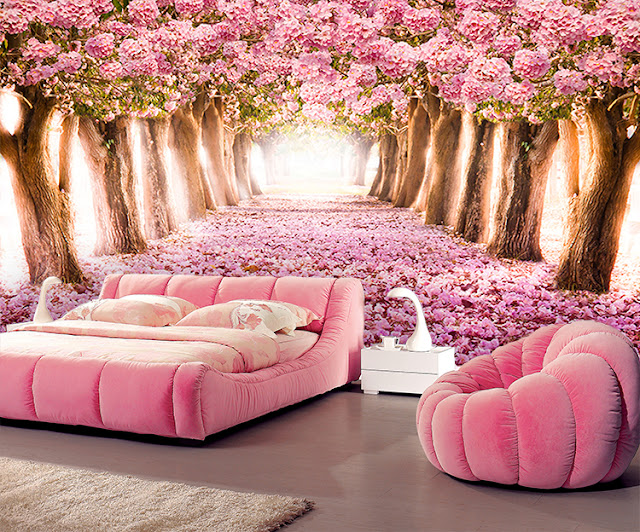 Photo Wallpaper for Bedroom Wall Murals Pink Tree