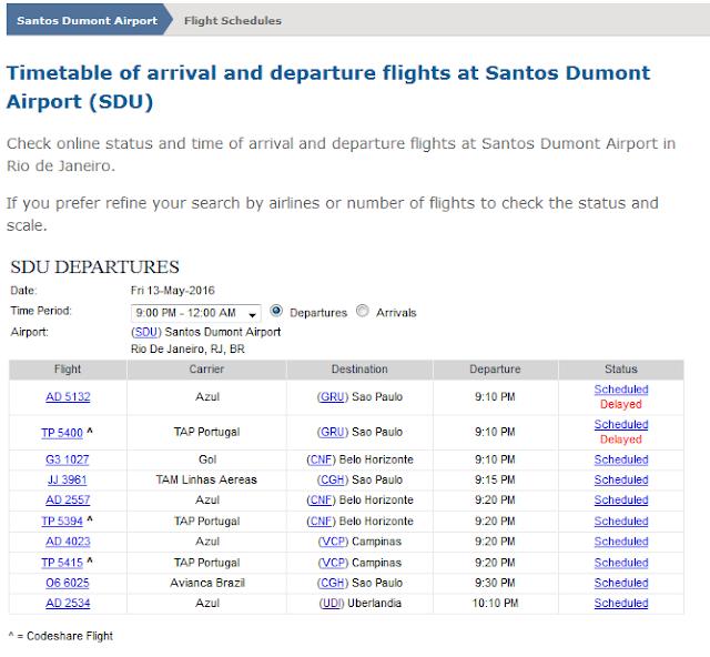 Santos Dumont Airport departures flights Rio de Janeiro delayed scheduled