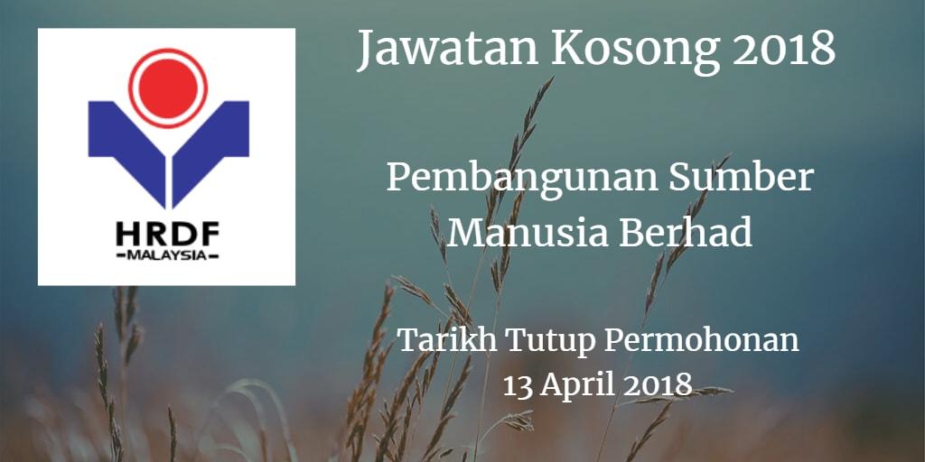 Jawatan Kosong Pembangunan Sumber Manusia Berhad 13 April 2018
