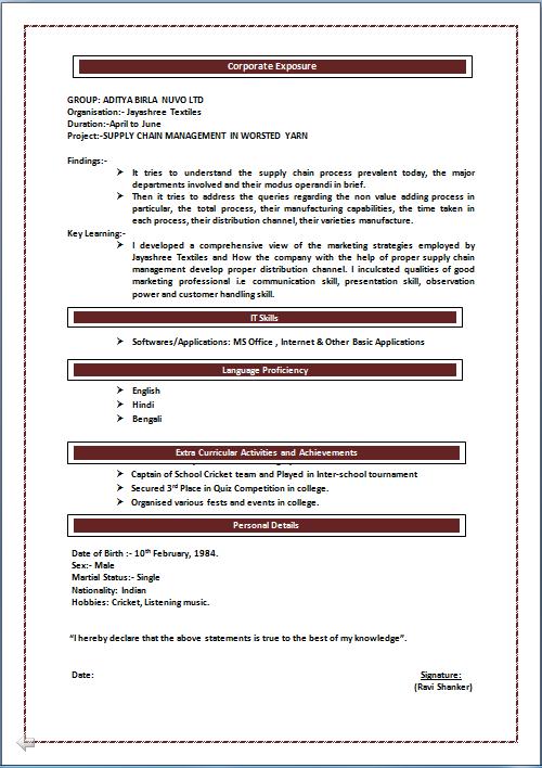Bba Fresher Resume Format