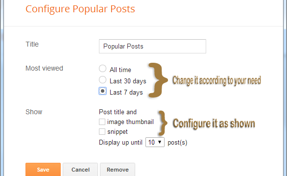 configuration of popular post widget