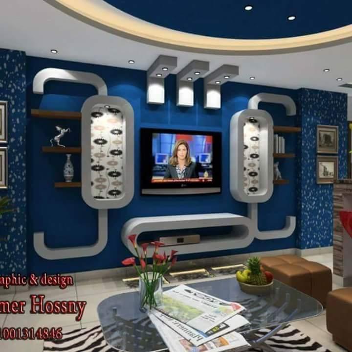 ديكورات جبس بلازما 2017-2018 من اجمل ديكورات مكتبات تليفزيون راقية