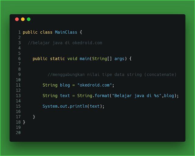 menggabungkan menggunakan nilai tipe data string dengan method format() di program java