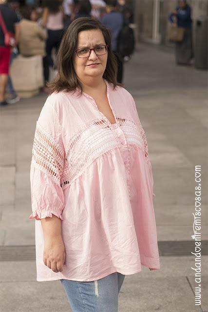 Blusa Rosa Con Crochet