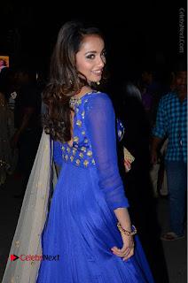 Telugu Actress Tejaswi Madivada Pos in Blue Long Dress at Nanna Nenu Na Boyfriends Audio Launch  0075.JPG
