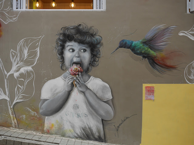 mural of a girl eating flower-shaped ice cream next to a large hummingbird