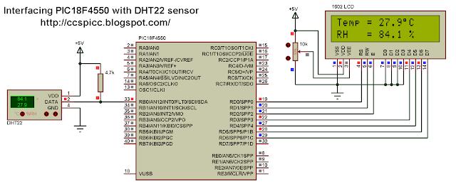 PIC18F4550 microcontroller DHT22 AM2302 RHT03 sensor circuit CCS PIC C