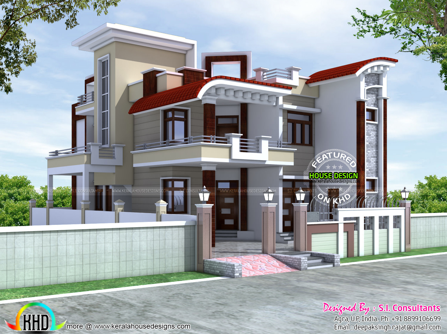 40x60 modern decorative architecture kerala home design for Modern house plans india
