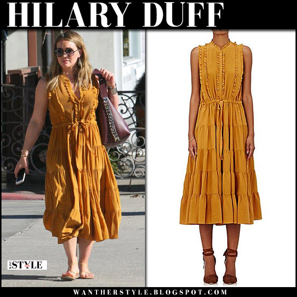 Hilary Duff in burnt orange midi dress ulla johnson and flat sandals ancient greek street fashion celebrity november 24