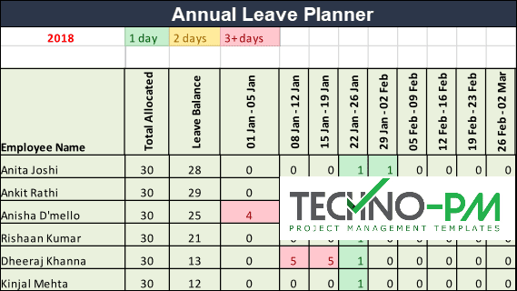 Annual Leave Planner, Leave Planner