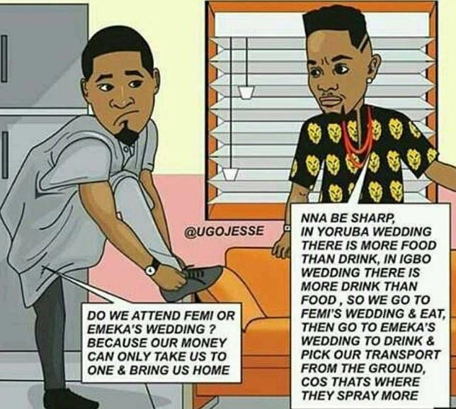 Lol. Between an Igbo and Yoruba wedding