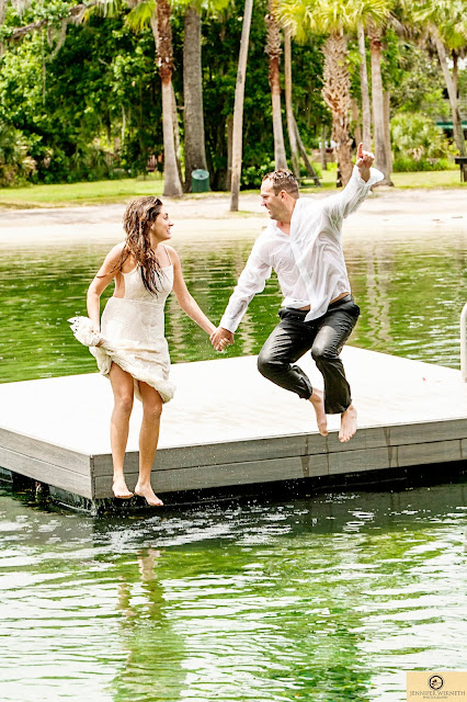bride and groom dive in