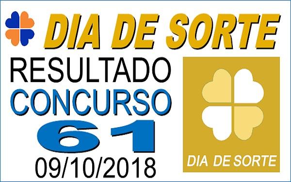 Resultado do Dia de Sorte concurso 61 de 09/10/2018 (Imagem: Informe Notícias)