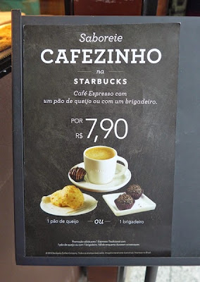 Brazilian menu of starbucks