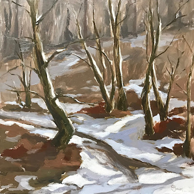 #155 'The First Snow, Bramshott Common' 12×12″