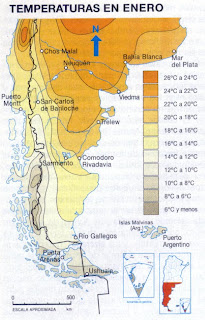 températures en Patagonie en Janvier