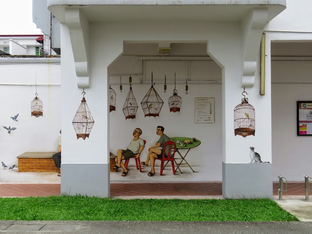 Street art in the Tiong Bahru neighborhood of Singapore