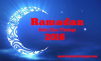 Ramadan Sehri Iftar Timings Calendar 2016 (1437) Bangladesh