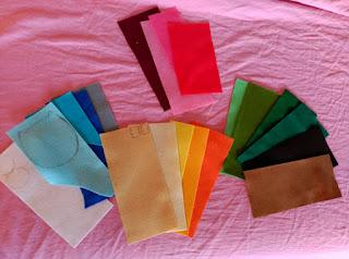 laminas de fieltro de colores variados