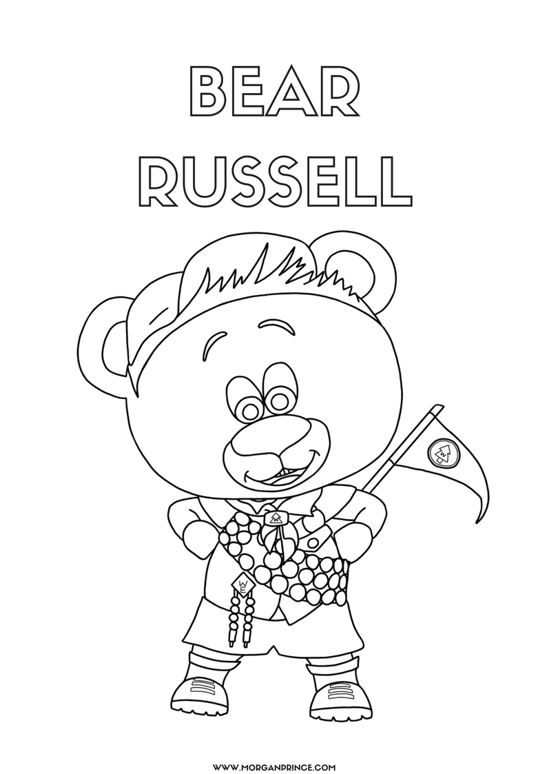 Hand drawn picture of a bear dressed as Russell from Up by Pixar.