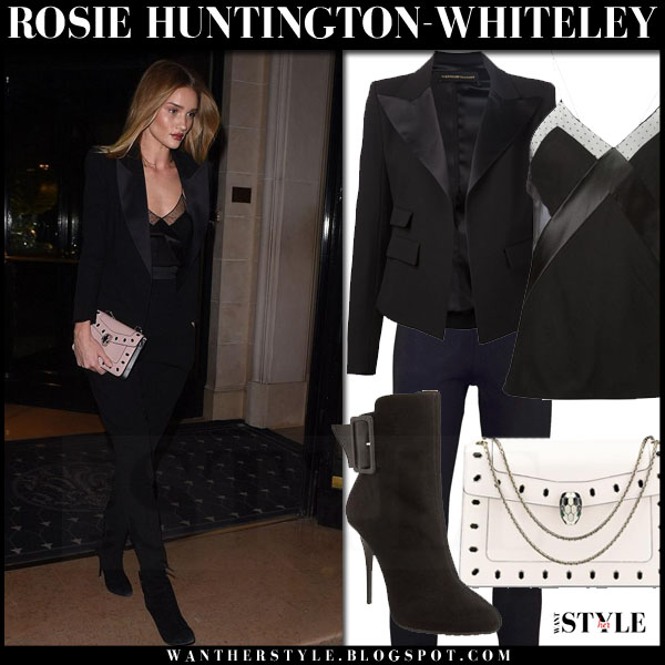 Rosie Huntington-Whiteley in black alexandre vauthier blazer, black pants with white bvlgari seprenti clutch what she wore pfw