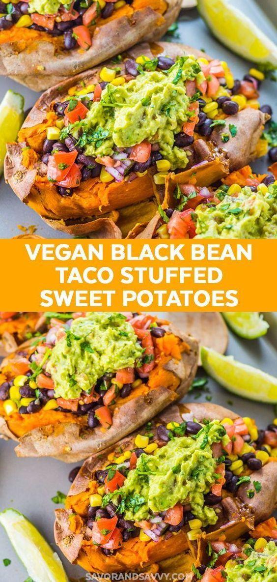 Black Bean Taco Stuffed Sweet Potatoes