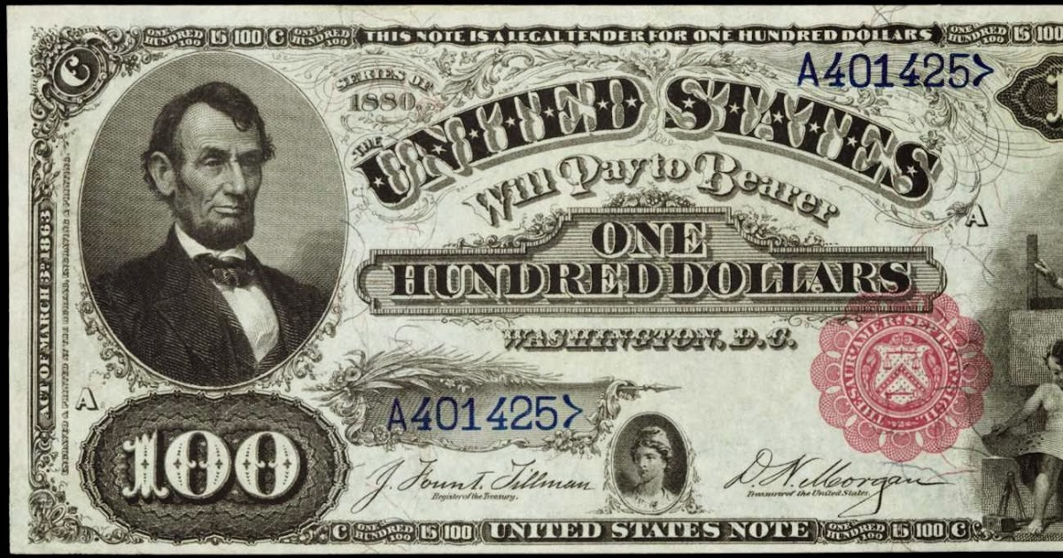 1880 One Hundred Dollar Legal Tender Note|World Banknotes ...