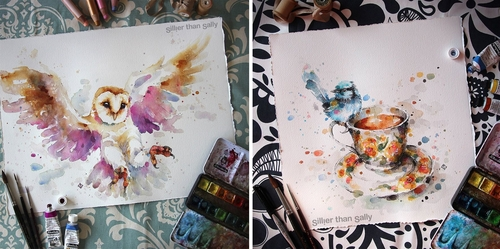 00-Sally-Walsh-sillierthansally-Watercolour-Portraits-Paintings-of-Wildlife-www-designstack-co