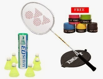 Yonex Badminton Racket & 6 Shuttlecocks – GR 303 & Mavis 03 with Free 2E-tech Grips worth Rs.1840 for Rs.1034