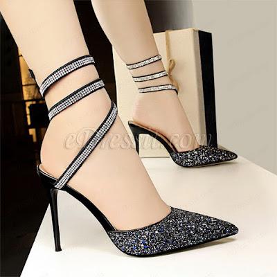 sequins buckle high heels sandals shoes