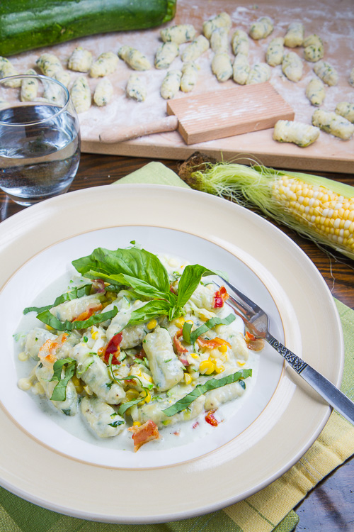 Zucchini Ricotta Gnocchi and Corn in Creamy Gorgonzola Sauce with Crispy Crumbled Pancetta