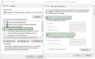 Konfigurasi DHCP untuk Mendapat IP Otomatis untuk Mengatasi masalah jaringan internet Windows 10