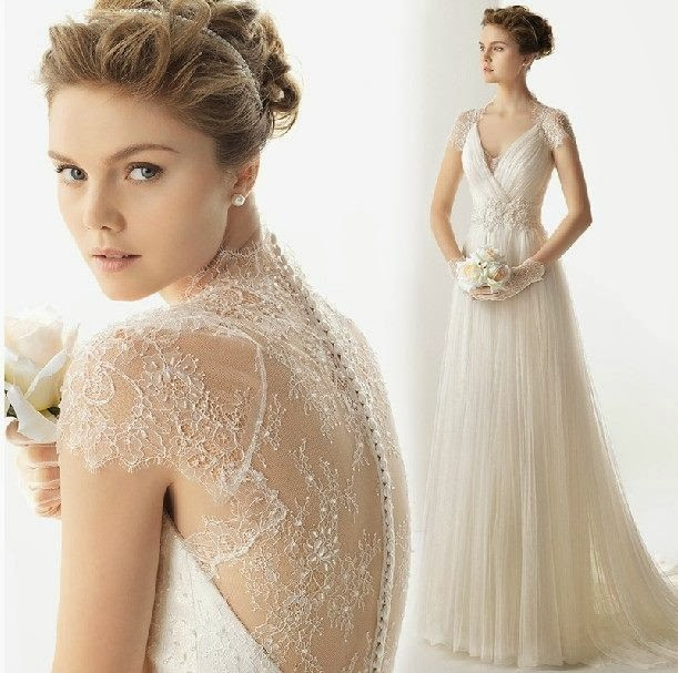 Vintage Style Lace Wedding Dresses: A Line Vintage Cap Sleeve Lace Bridal Wedding Gown :: My