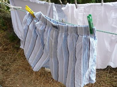 primer término de unos calzoncillos de rayas tendidos en una cuerda. Al fondo, más ropa.