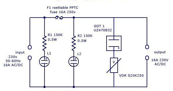 Circuit learning: Simple Lighting Surge Protector Circuit on valve schematic, ballast schematic, ups schematic, telephone schematic, amplifier schematic, tv schematic, rectifier schematic, hard drive schematic, contactor schematic, door schematic, led schematic, power supply schematic, circuit breaker schematic, electronics schematic, remote control schematic, keyboard schematic, capacitor schematic, compressor schematic, power conditioner schematic, speakers schematic,