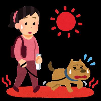 アスファルトが暑くて辛い犬のイラスト