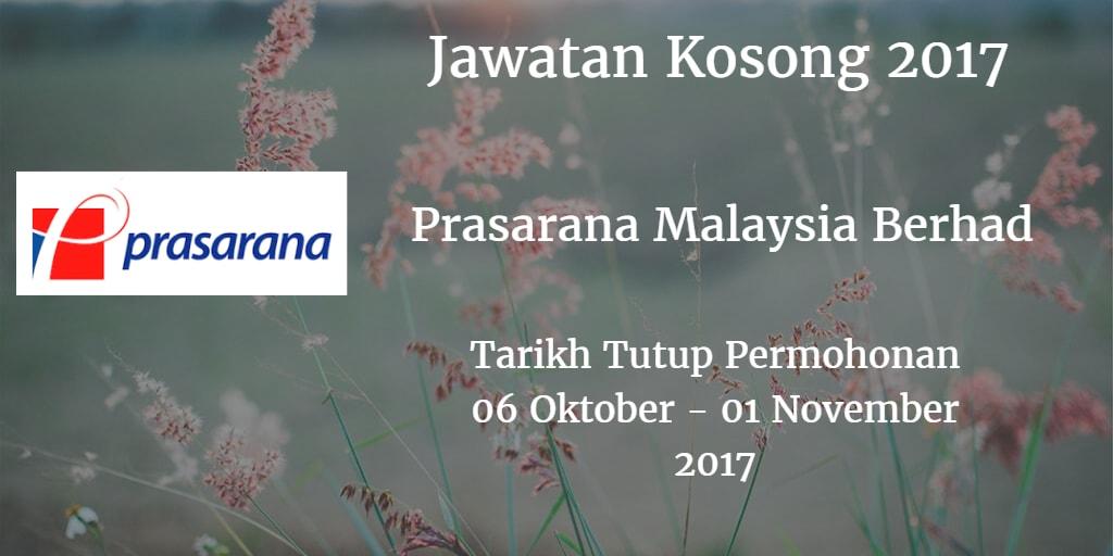 Jawatan Kosong Prasarana Malaysia Berhad 06 Oktober - 01 November 2017
