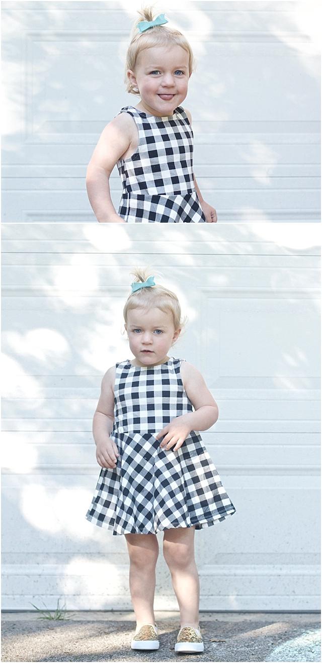 Toddler black and white check dress