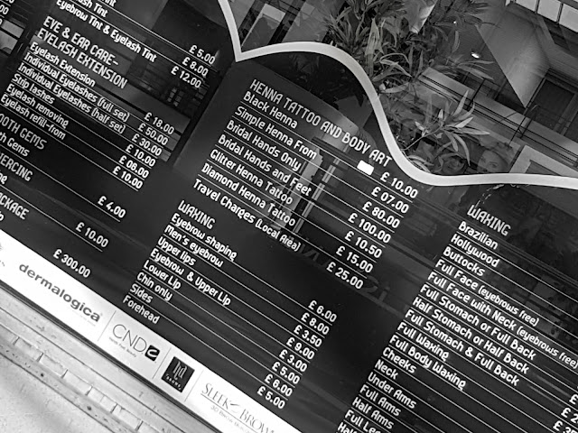 THE ANGEL BEAUTY PARLOUR IN CROYDON PRICE LIST FOR HENNA