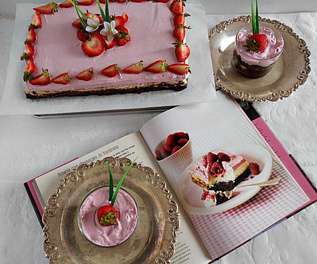 receita brownie com cheesecake de baunilha e frutos vermelhos