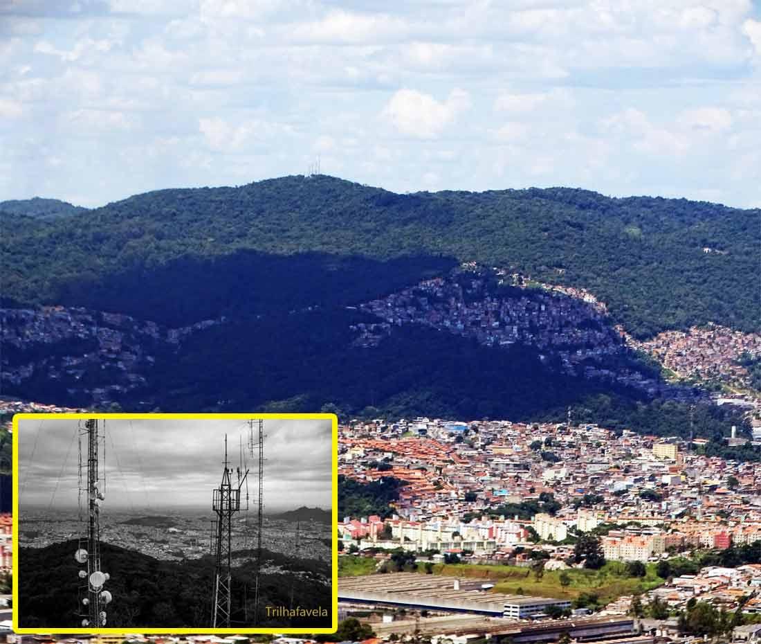 Morro de Taipas (com suas torres em detalhe). Foto principal: Marinaldo Gomes Pedrosa. Foto do detalhe: Rogério Sousa Silva