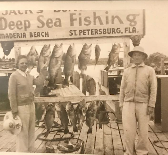 black and white photo of Irma DeHaven and William DeHaven deep sea fishing