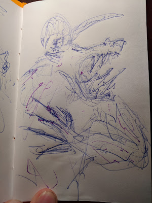 hasty pen sketch outline in blue with purple veins