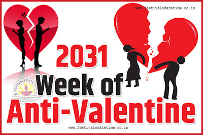 2031 Anti-Valentine Week List, 2031 Slap Day, Kick Day, Breakup Day Date Calendar