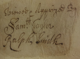 Signature of Samuel Taylor in 1715