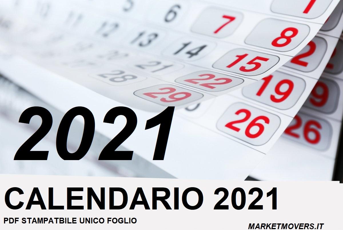 Calendario 2021 stampabile unico foglio PDF