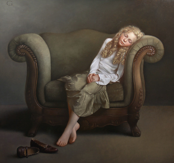13-The-Long-Wait-David-Gray-Lost-in-Thought-Realistic-Oil-Paintings-www-designstack-co
