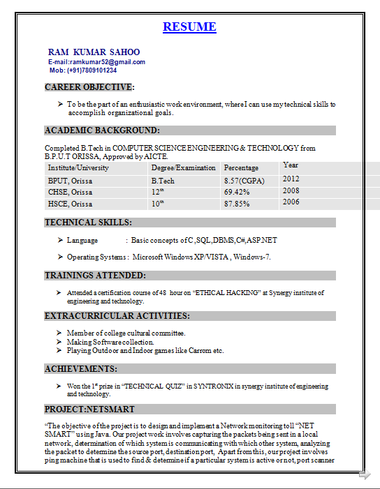 fresher resume format for b tech cse resume format