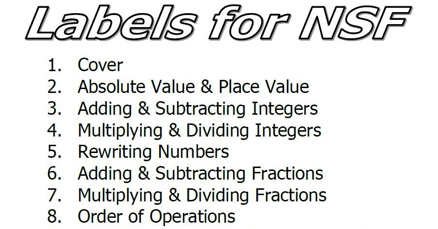 Mrs. Emery's Algebra Class: Number Sense Foldable