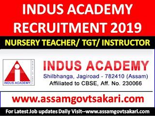 Indus Academy,Jagiroad Recruitment 2019-Nursery Teacher/TGT/Physical Instructor